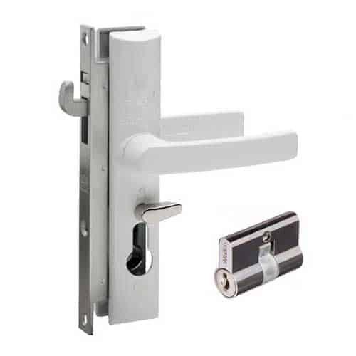 White Lockwood Security Screen Door Mortise Lock